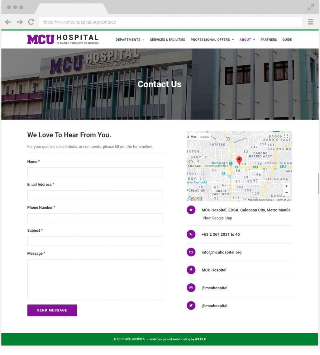 MCU Hospital Contact