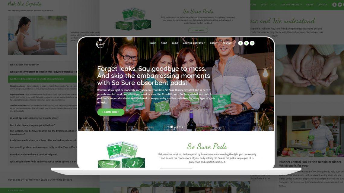 So Sure Pads Website