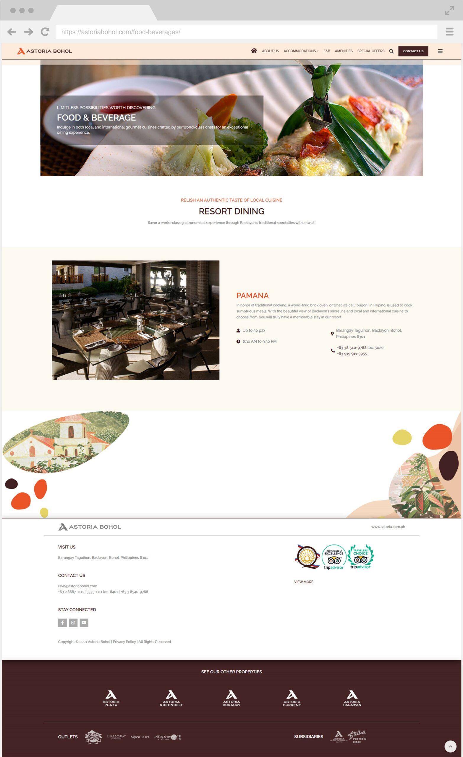 Astoria Bohol Food and Beverages