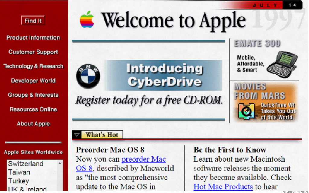 Apple Old Website before they have redesigned