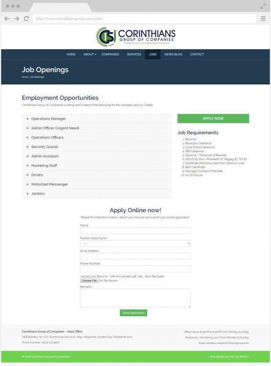 Corinthians Group Jobs