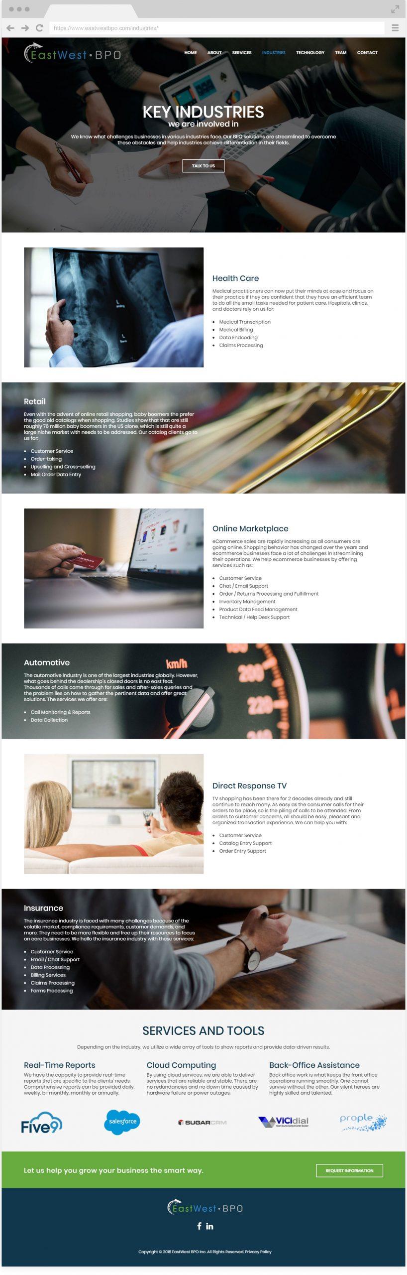 EastWest BPO Key Industries