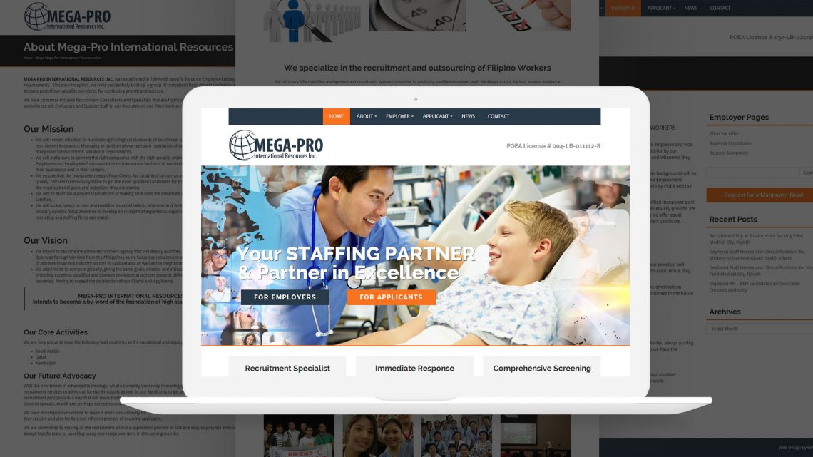 Mega Pro International Website